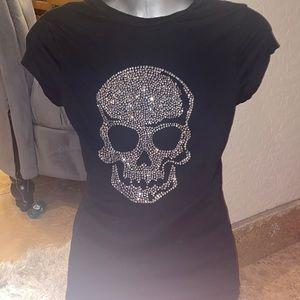 Bejeweled Rhinestone skull black v neck shirt